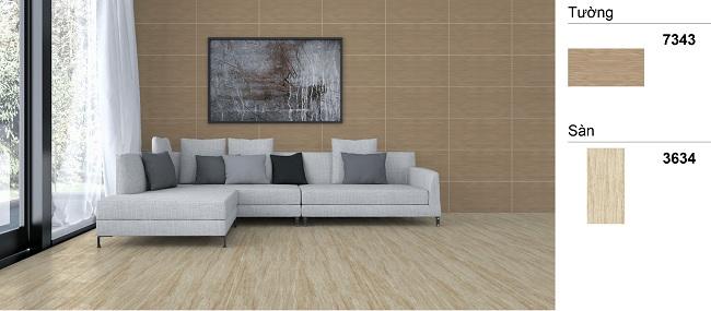 Mẫu gạch ốp tường phòng khách giả gỗ lịch sự