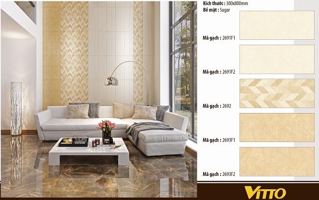 Gạch ốp tường phòng khách Vitto đẹp mắt
