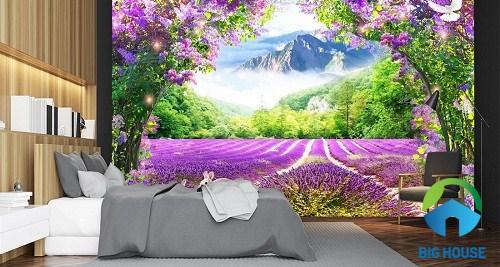 tranh gạch 3d phong cảnh rừng hoa oải hương