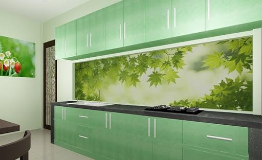 gạch 3D ốp bếp với bức tranh phong cảnh thiên nhiên yên bình